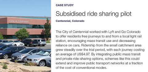 Case study - subsidised ride sharing pilot, Centennial, Colorado